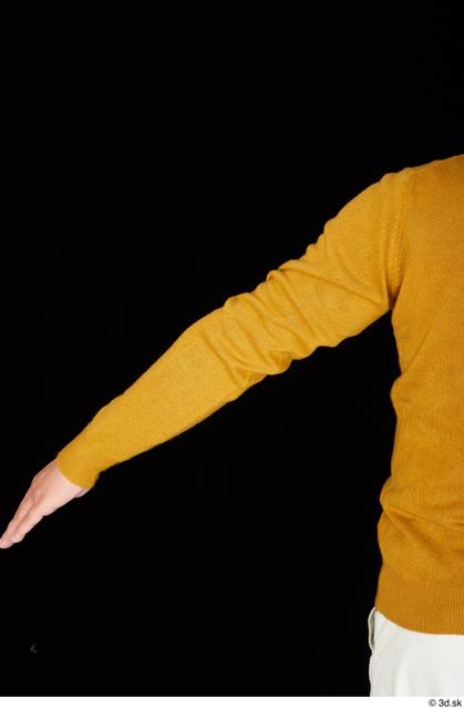 Arm Man White Casual Sweatshirt Chubby Studio photo references