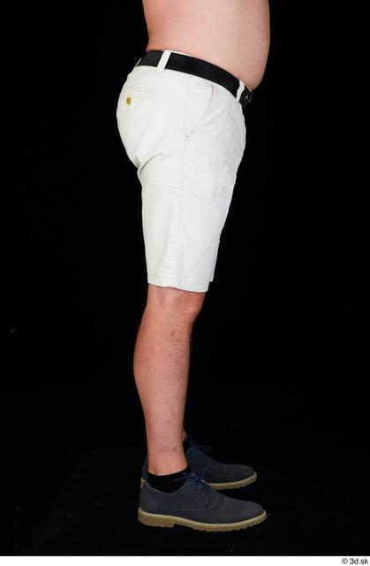 Leg Man White Casual Shoes Belt Shorts Chubby Studio photo references