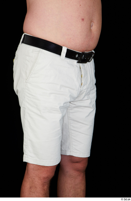Thigh Hips Man White Casual Belt Shorts Chubby Studio photo references