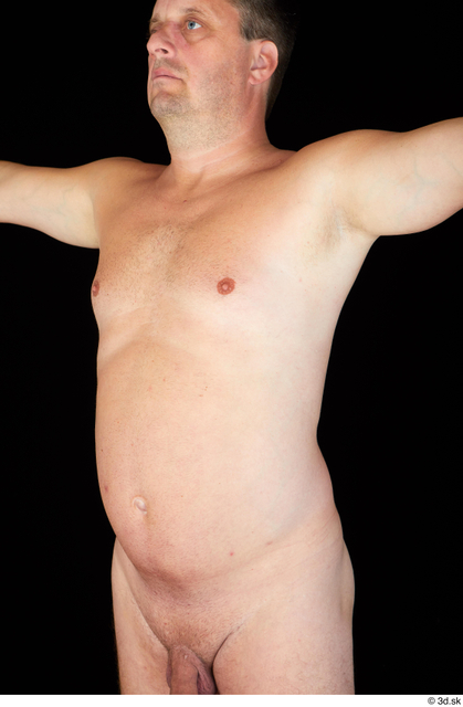 Upper Body Man White Nude Chubby Studio photo references