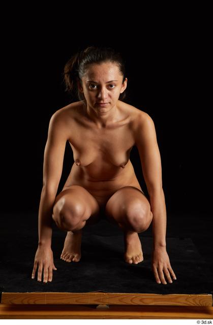 Whole Body Woman White Nude Slim Kneeling Studio photo references