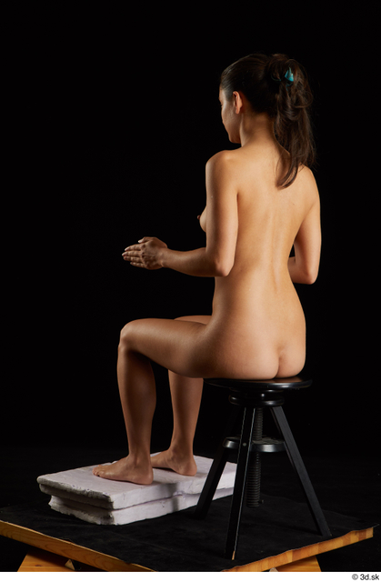 Whole Body Woman White Nude Slim Sitting Studio photo references