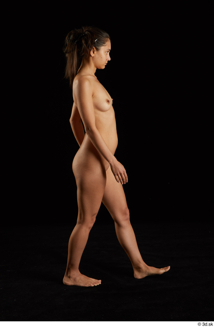 Whole Body Woman White Nude Slim Walking Studio photo references