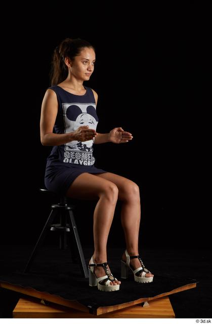 Whole Body Woman White Shoes Dress Slim Sitting Studio photo references