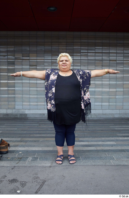 Whole Body Woman T poses White Casual Overweight Street photo references
