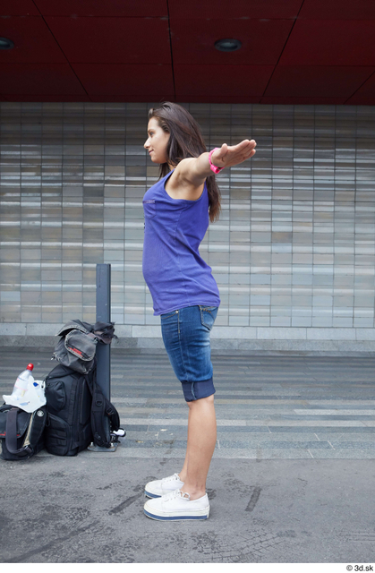 Whole Body Woman T poses White Casual Average Street photo references