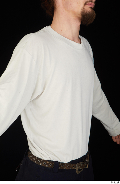 Upper Body Man White Shirt Slim Studio photo references