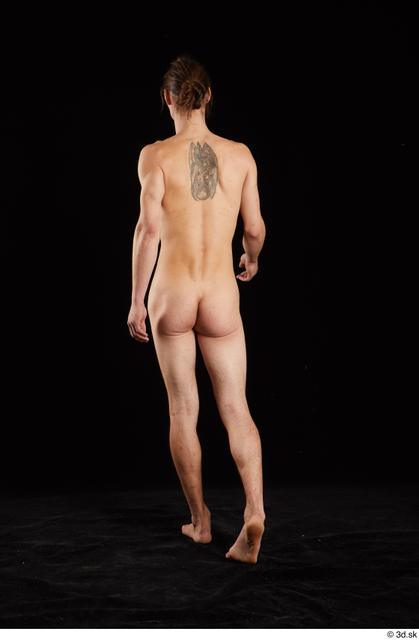 Whole Body Back Man White Nude Slim Walking Studio photo references