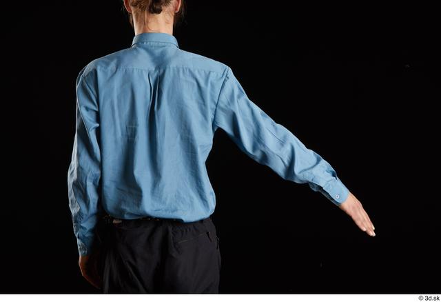 Arm Back Man White Shirt Trousers Slim Studio photo references