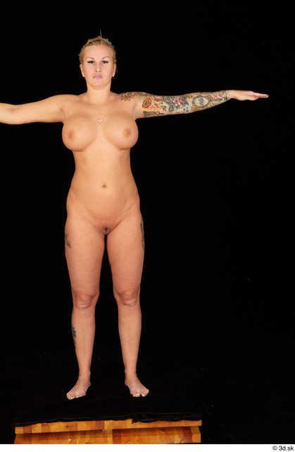 Whole Body Woman T poses Nude Chubby Standing Studio photo references