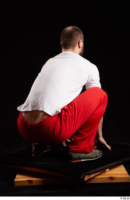 Whole Body Man White Shoes Shirt Slim Kneeling Panties Bearded Studio photo references