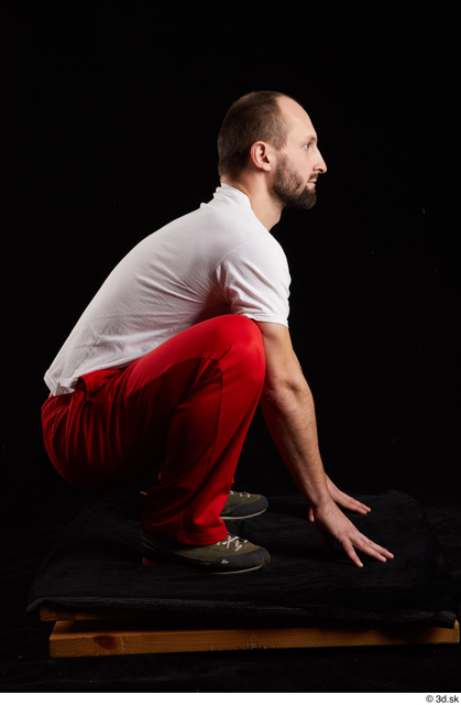 Whole Body Man White Shoes Shirt Slim Kneeling Panties Bearded Studio photo references
