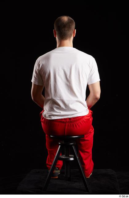 Whole Body Man White Shoes Shirt Slim Sitting Panties Bearded Studio photo references