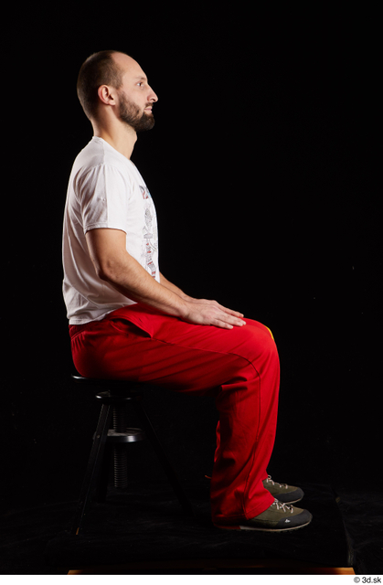 Whole Body Man White Shoes Shirt Slim Sitting Panties Bearded Studio photo references