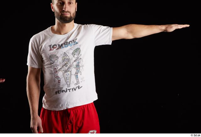 Arm Man White Shirt Slim Bearded Studio photo references
