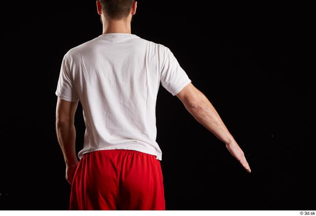 Arm Back Man White Shirt Slim Bearded Studio photo references