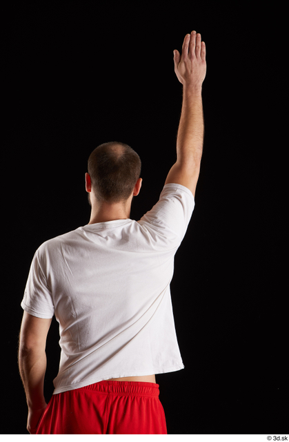 Arm Back Man White Shirt Slim Bearded Studio photo references