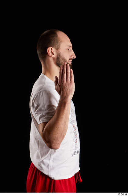 Arm Man White Shirt Slim Bearded Studio photo references