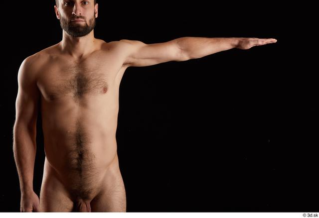 Arm Man White Nude Slim Bearded Studio photo references