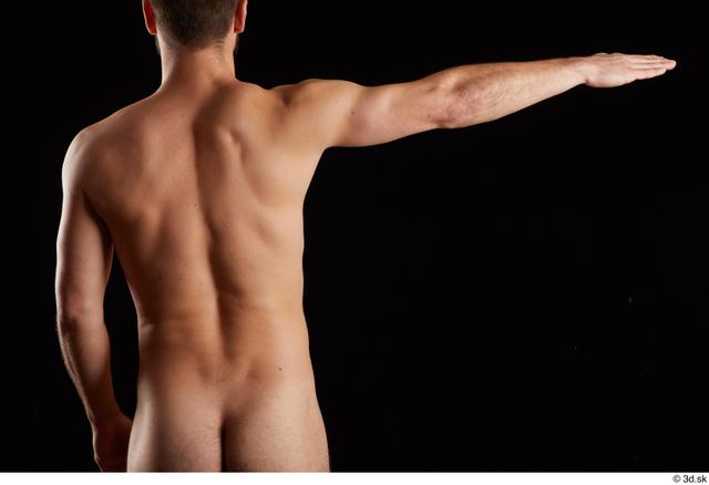 Arm Back Man White Nude Slim Bearded Studio photo references