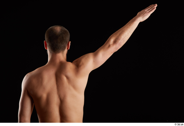 Arm Back Man White Nude Slim Bearded Studio photo references