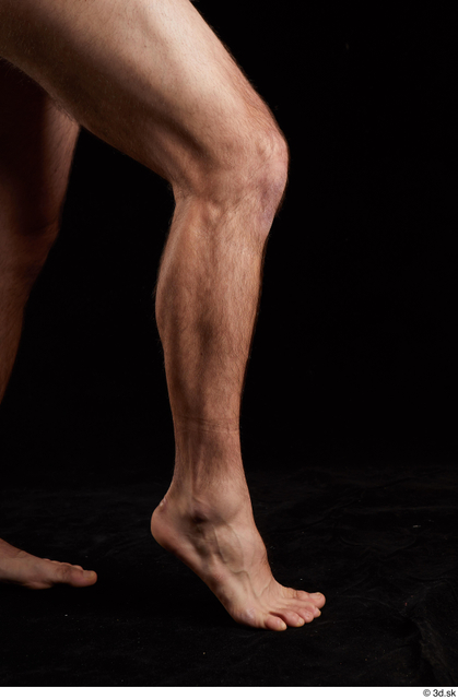 Calf Man White Nude Slim Bearded Studio photo references