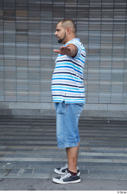 Whole Body Man T poses White Casual Chubby Standing Bearded Street photo references