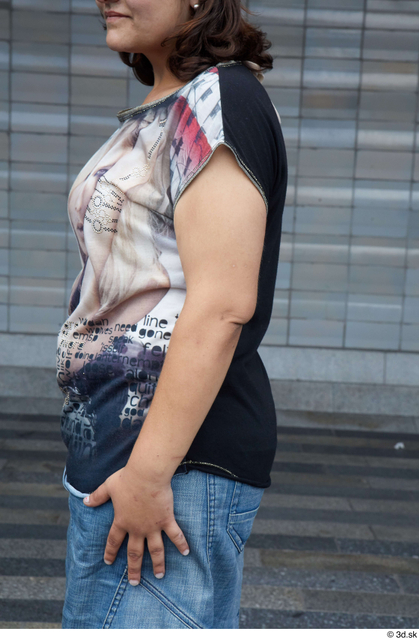Arm Upper Body Woman White Casual Chubby Street photo references