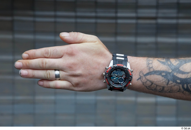 Hand Man White Tattoo Casual Slim Watch Street photo references