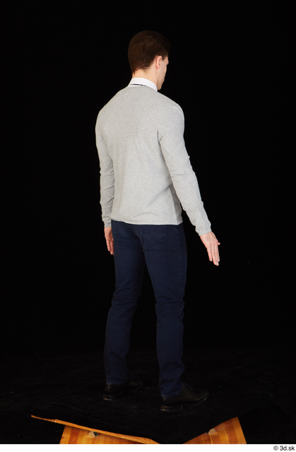 Whole Body Man White Shoes Shirt Sweater Trousers Slim Standing Studio photo references