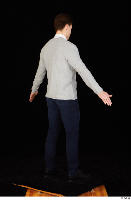 Whole Body Man Shoes Shirt Sweater Trousers Slim Standing Studio photo references