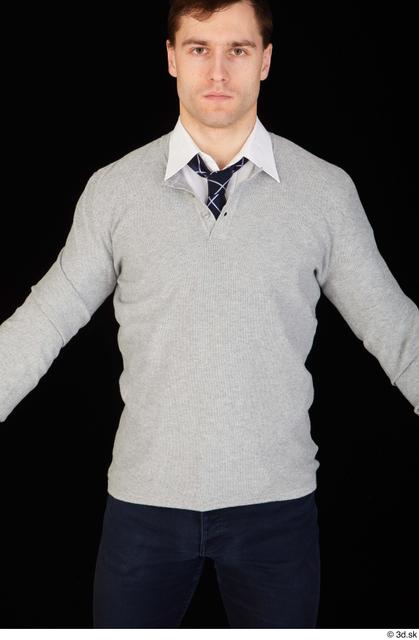 Upper Body Man White Shirt Sweater Slim Studio photo references