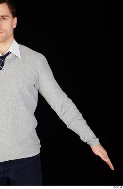 Arm Upper Body Man White Shirt Sweater Slim Studio photo references