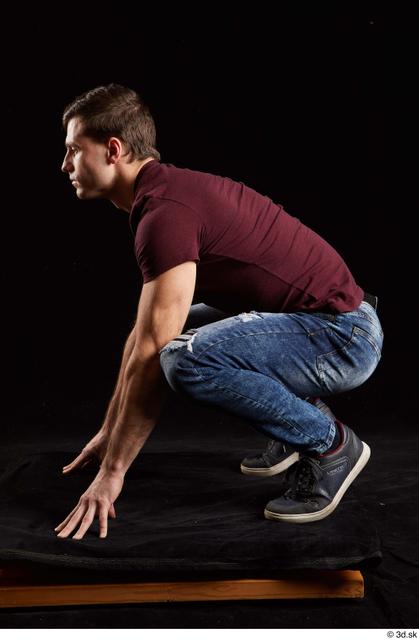 Whole Body Man White Shoes Shirt Jeans Slim Kneeling Studio photo references