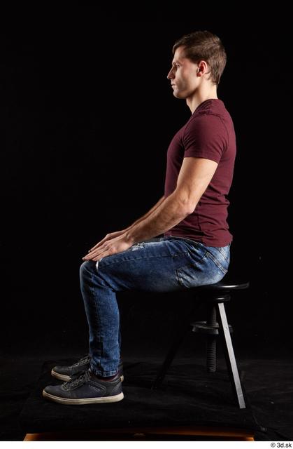 Whole Body Man White Shoes Shirt Jeans Slim Sitting Studio photo references