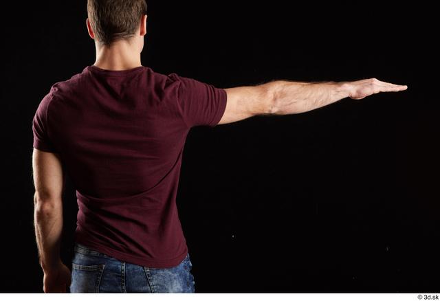 Arm Back Man White Shirt Slim Studio photo references