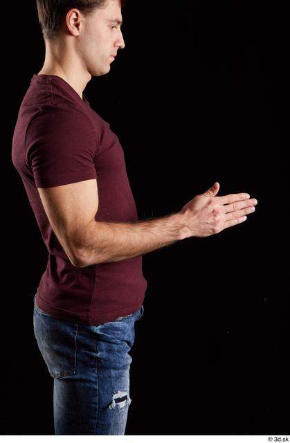 Arm Man White Shirt Slim Studio photo references