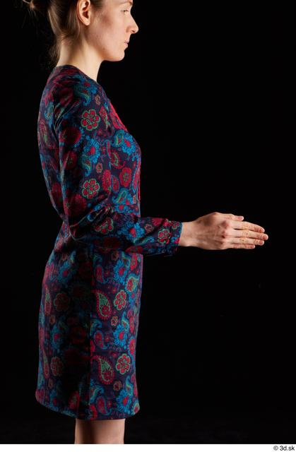 Arm Woman White Dress Slim Studio photo references