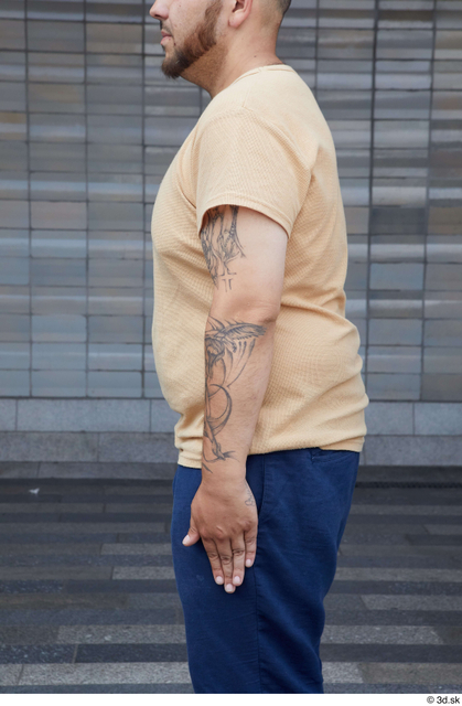 Arm Upper Body Man White Casual Chubby Street photo references