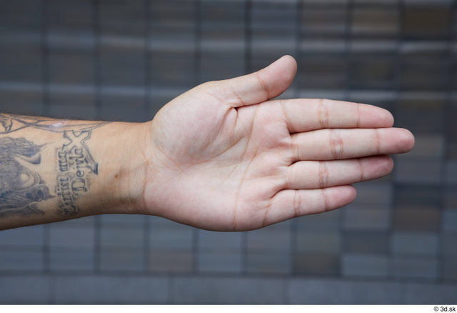 Hand Man White Tattoo Casual Chubby Street photo references
