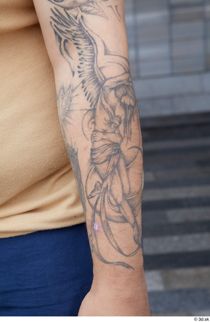 Arm Man White Tattoo Casual Chubby Street photo references