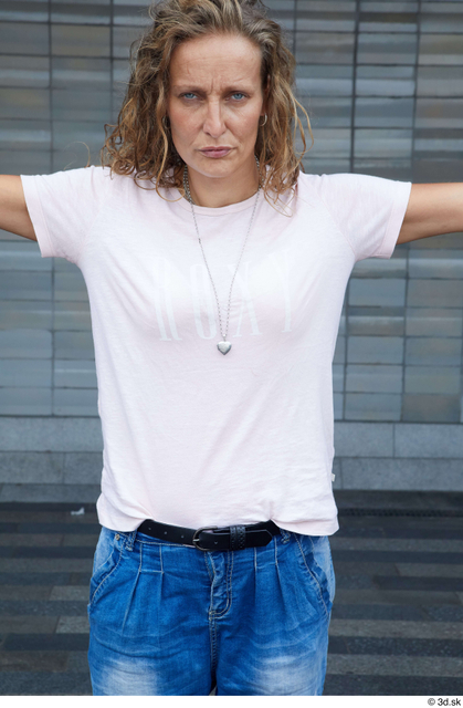 Upper Body Woman White Casual Slim Street photo references