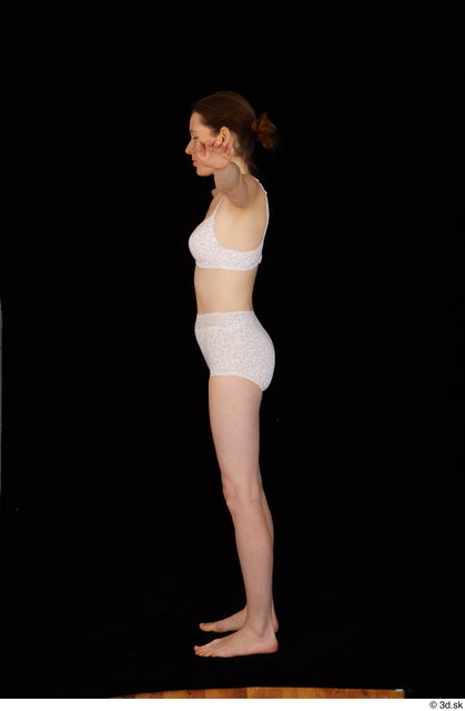 Whole Body Woman White Underwear Bra Slim Standing Panties Studio photo references