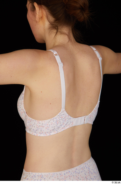 Upper Body Back Woman White Underwear Bra Slim Studio photo references