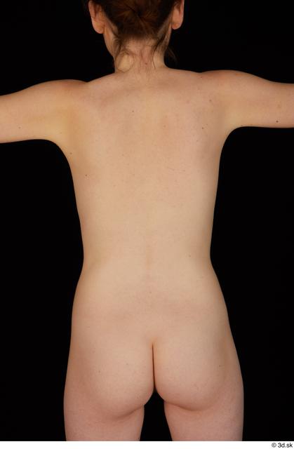 Upper Body Back Woman White Nude Slim Studio photo references