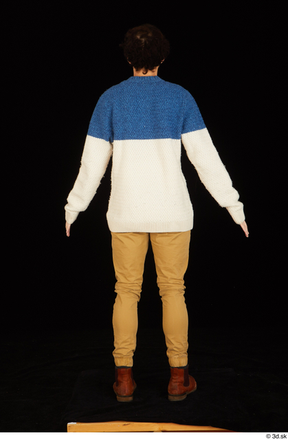 Whole Body Man Shoes Sweater Trousers Slim Standing Studio photo references