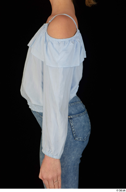 Arm Upper Body Woman White Blouse Slim Studio photo references