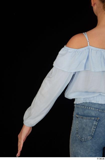 Arm Upper Body Woman White Blouse Slim Studio photo references