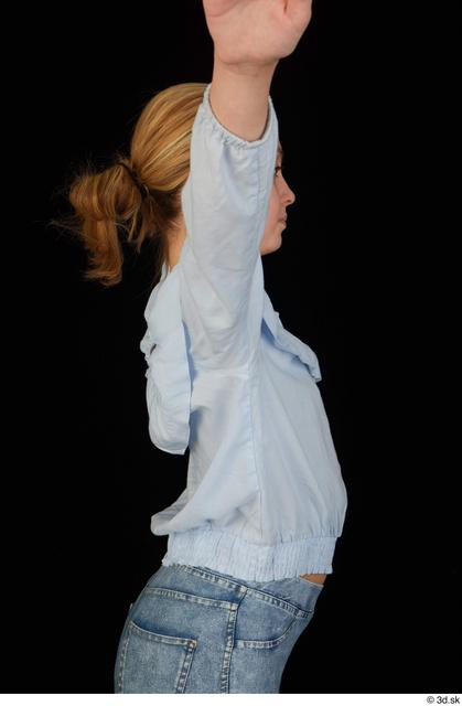 Upper Body Woman White Blouse Slim Studio photo references