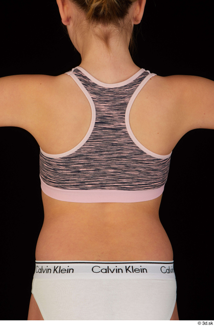Upper Body Back Woman White Underwear Bra Slim Panties Studio photo references